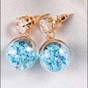 Double Sided Glass Ball Crystal Stud Earrings